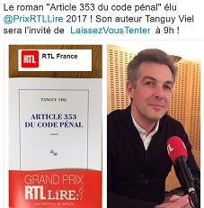 Tanguy Viel RTL 20 mars 2017